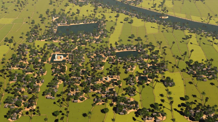 Artist's aerial reconstruction of a medieval Angkor settlement