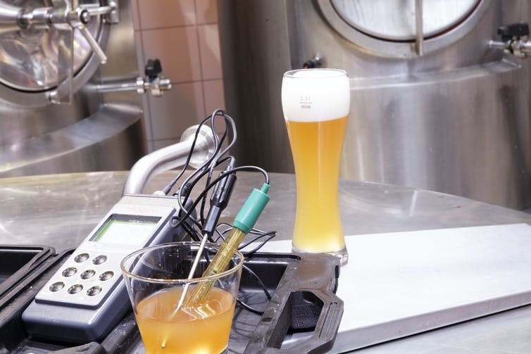 beer with analysis tools at a brewery